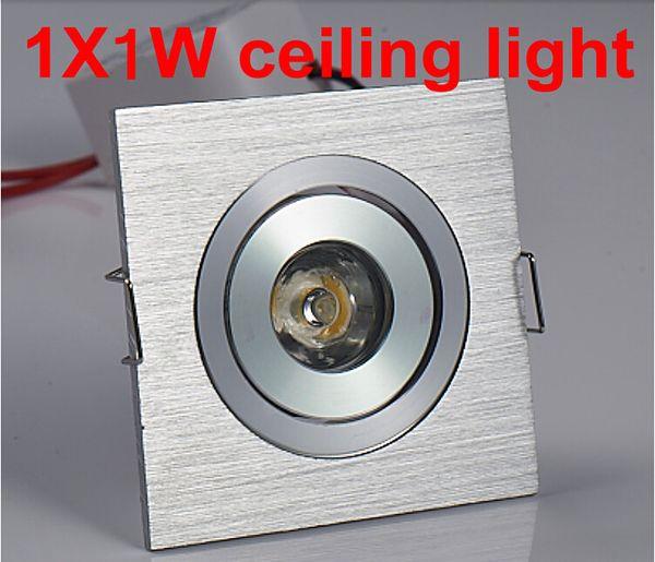 Free Shipping 10pcs/lot 1w Square LED Downlight Light Silver Ceiling Lamp Pure/Warm White Spot Lighting