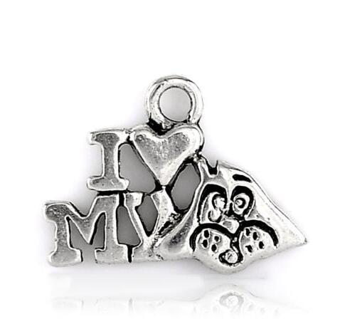 Vintage Silver I Love My Dog Heart Dog Paw Print Feather Shell Keys Charms Dog Pendant For Jewelry Findings Making Bracelet Gift Accessories