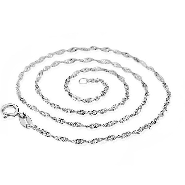 Water Wave Genuine S925 Sterling Silver Necklace Twisted Rope Chain Platinum Plated Fashion Women Jewelry 16 18 inch