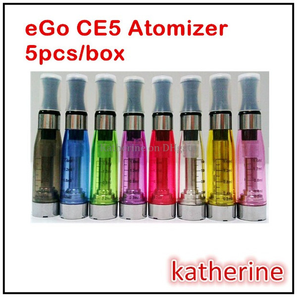 eGo E Cig CE5 Atomizer 1.6ml Clearomizer E Cigarette Cartomizer Invisible no Wick for eGo Series E cigarette eGo-T Battery Different Colors