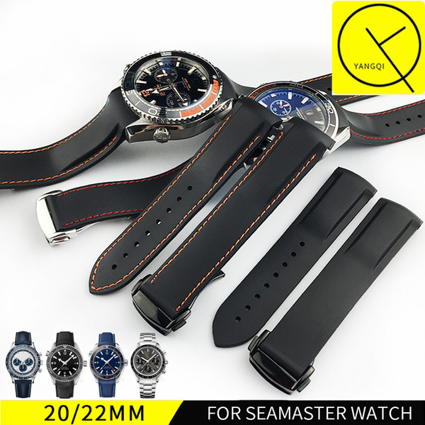 22mm Watch Strap Bands Men Blue Black Waterproof Silicone Rubber Watchbands Bracelet Clasp Buckle For Omega Planet-Ocean +Tools