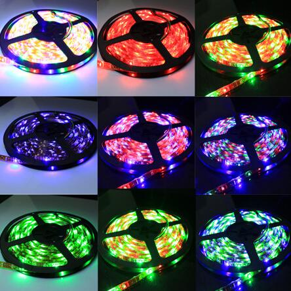 Waterproof IP65 5M Roll 3528 SMD 60 LEDs/M 300 LEDs RGB 12V Flexible LED Strip Light 7 Color Changing Colorful Led Strips Christmas Light