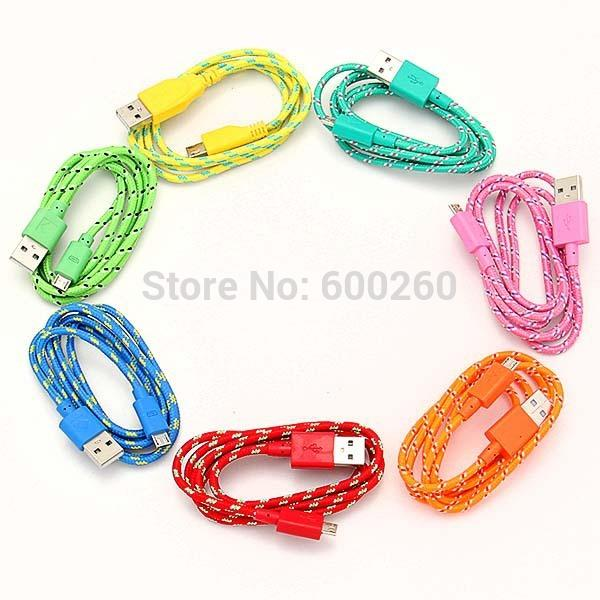2014 New 3M/10FT Hemp Rope Micro USB Charger Charging Sync Data Cable Cord for Cell Phone Free shipping