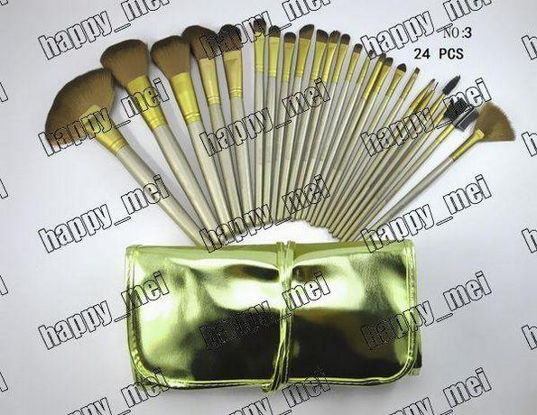 Factory Direct DHL Free Shipping New Makeup Brushes Nude 3 Brushes 24 Pieces Brush With Gold Leather Pouch!
