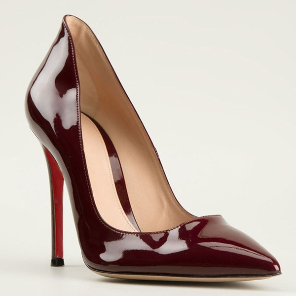 Ladies Cheap Price Discount Sexy Burgundy Shoes Pumps Coehide