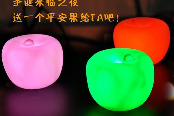 Party Christmas Decorations LED flashing apple Christmas Eve changed colors night light Flameless candles NEW children toys festive gift