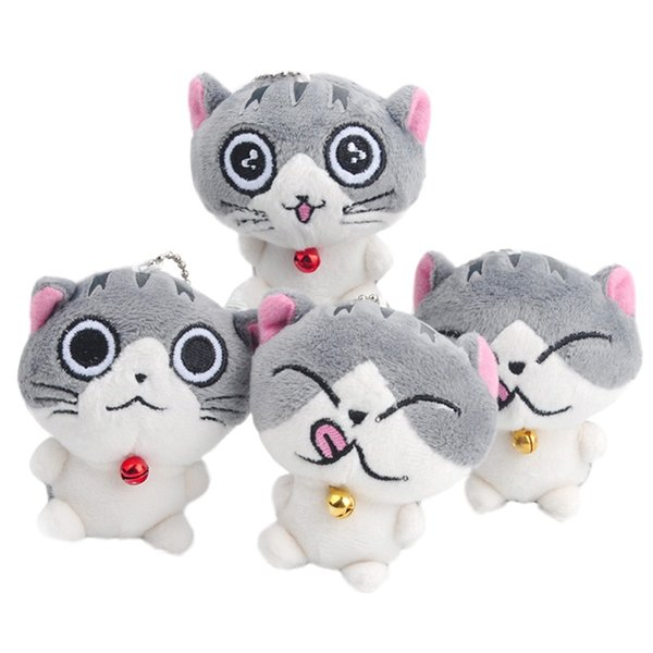 best selling 2017Cat Meow Collection Mini Plush Stuffed Dolls Cute Small Pen dant Plush Toys (Color: Grey)