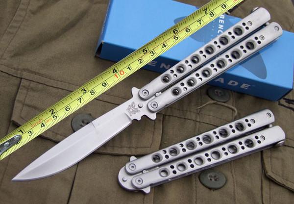 Benchmade Bm Bm42 Balisong Butterfly Knife Tactical Knife Satin Plain 42 Bm43 Bm47 Edc Pocket Survival Knife Knives With Nylon Sheath Folding Hunting