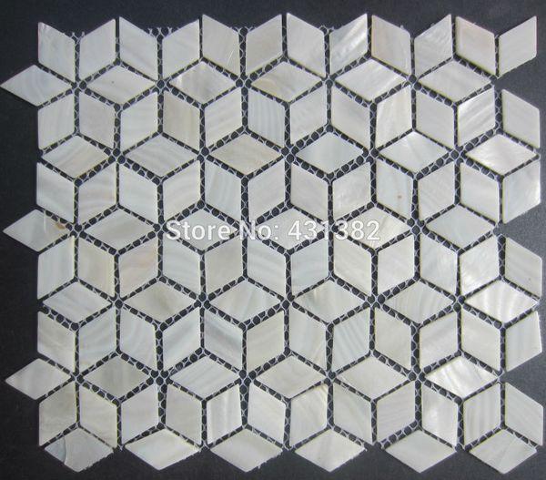 FREE SHIPPING Rhombus Shell Mosaic Tiles,42*24;Naural pure white Mother of Pearl Tiles, kitchen backsplash, bathroom wall flooring tiles