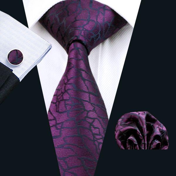 Purple Silk Tie Set Hanky Cufflinks Mens Jacquard Woven Business Necktie 8.5cm Width Casual Set N-1004