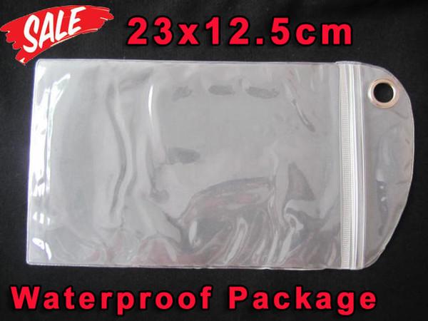 23 * 12.5 CM bolsa de plástico impermeable de la cremallera del bolso al por menor paquete transparente de empaquetado para Iphone X 7 8 6 más Galaxy S8 S9 S6 Edge note 3 4 estuche rígido