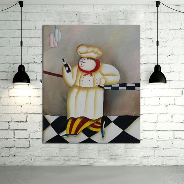 Handpainted New Design Decorative Free Shipping Art Oil Paintings on Canvas Art Abstract Cook Wall Pictures for Home Decor