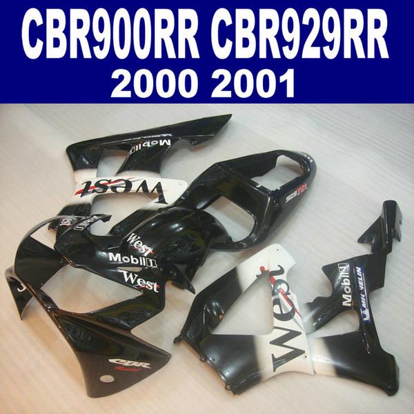7Regalos para HONDA CBR900RR kit de carenado CBR929 2000 2001 negro blanco WEST CBR 929 RR CBR929RR carenados conjunto IK25