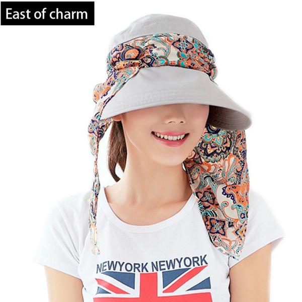 Wholesale-2015 New Fashion Women Lady Foldable UV Protection Neckguard Roll Up Sun Hat Beach Hat Wide Brim Visor Hat Drop Shipping