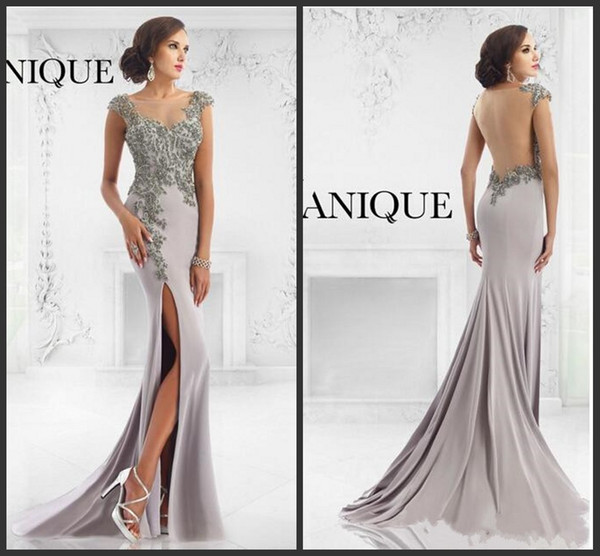 2016 Janique Gray Mermaid Long Evening Dresses High Split Side Sheer Scoop Neck with Beads Appliques Vestido De Festa Spandex Prom Gowns