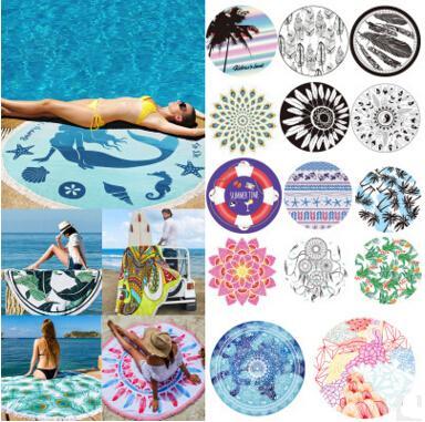 Grandes serviettes de plage rondes imprimées en microfibre avec gland Serviette de plage Serviette De Plage Écharpe Châles 51 Couleurs 20 pcs