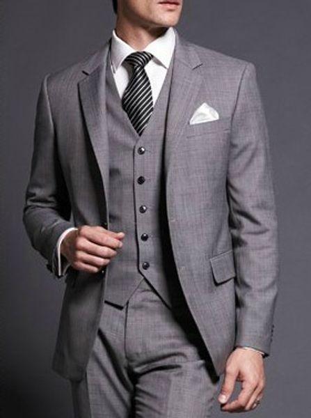 New Light Grey Groom Tuxedos Two Buttons Best Man Notch Lapel Groomsman Men WeddingDinner Suits Bridegroom(Jacket+Pants+Tie+Vest)