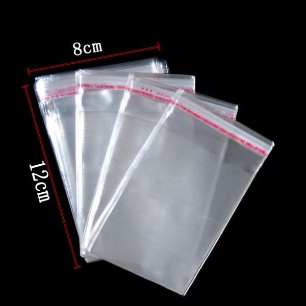 600 pcs/lot Wholesale Jewelry Packaging Clear OPP Bags With Self Adhesive Seal Transparent Plastic Cello Bags 8x12cm