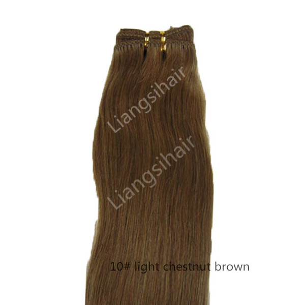 "7A 100g 1pcs 14""-24"" 10# Light Chestnut Brown Brazilian Straight Hair Extensions Indian Malaysian Peruvian Remy Human Hair Weave"