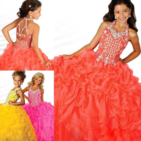 2017 Organza heißer Verkauf Ballkleid Glitz Mädchen Festzug Kleider Organza Paspeln Backless rosa gelb in voller Länge Blumenmädchen Kleider RG6687