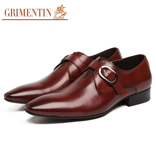 GRIMENTIN Luxury brand men oxford shoes Fashion Italian designer mens dress shoes genuine leather buckle formal business wedding male shoes