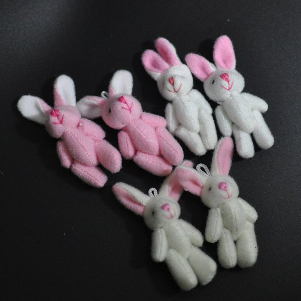 Bulk 4.5CM Plush Mini Bunny Cute Joint Rabbit stuffed animals Craft Stuffed Dolls Plush Pendant jewellery/Bouquet/Phone/Bag Soft toys