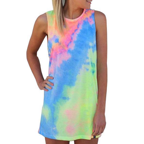 Uk Batik Mini Elbise Tropikal Kadınlar Renkli Çiçekler Baskılı Plaj Tankı Elbise Neon Sundresses Sevimli Elbiseler Ucuz Kulüp Aşınma