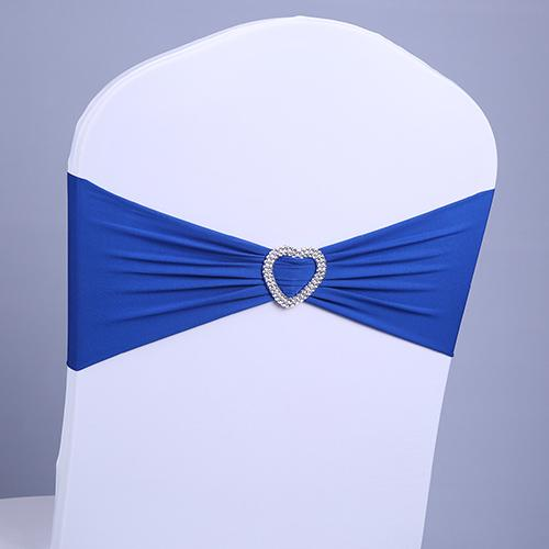 Royal blue Party decorations Hot Sale Chair Bands banquet Spandex Chair Sash Stretch Lycra chair bows have Heart buckle