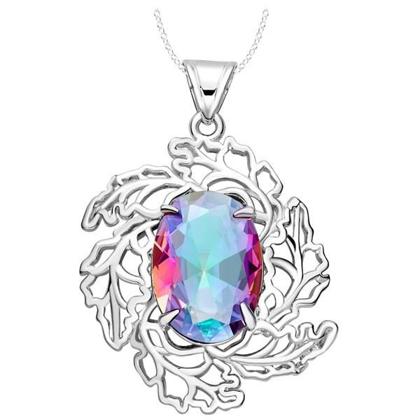 925 silver plated necklace trade new Flower Leaf Necklace Pendant Jewelry colorful stone egg spot