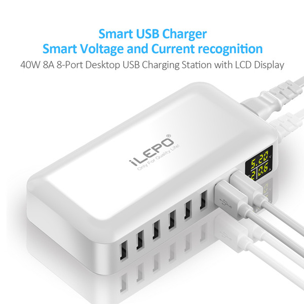 1PIECE!! Hot Smart 8A USB Travelling Charger LCD Display 8 Power Ports Hub High Speed Multiple Adapter powerbank Wireless for Android Phone