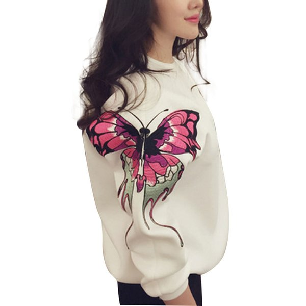 2016 New Winter Women Hoodies Casual Velvet Embroidery Butterfly Printed Sweatshirt Plus size Tops Femme Fashion Woman Clothes