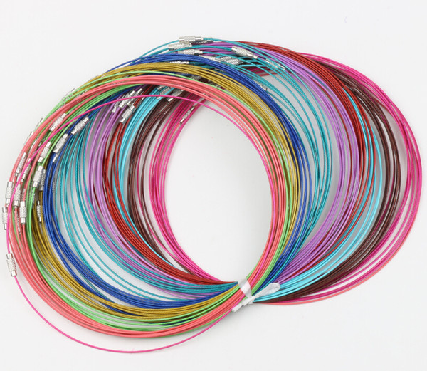 "Multi Color Stainless Steel Wire Cord Necklaces new 200pcs/lot Chains Jewelry 18""L Jewelry DIY"