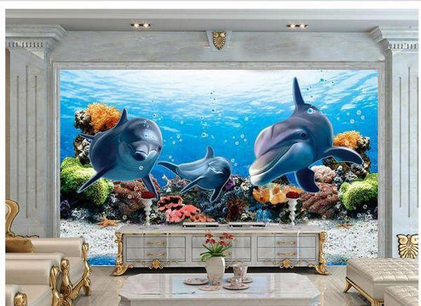 3d wallpaper TV background wallpaper the living room sofa backdrop mural Underwater World Dolphin mural wallpaper 20155967