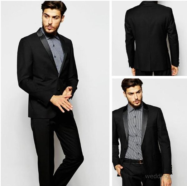 2016 Black Slim Fit Tuxedo Suits Satin Lapel Wedding Suits Custom ...