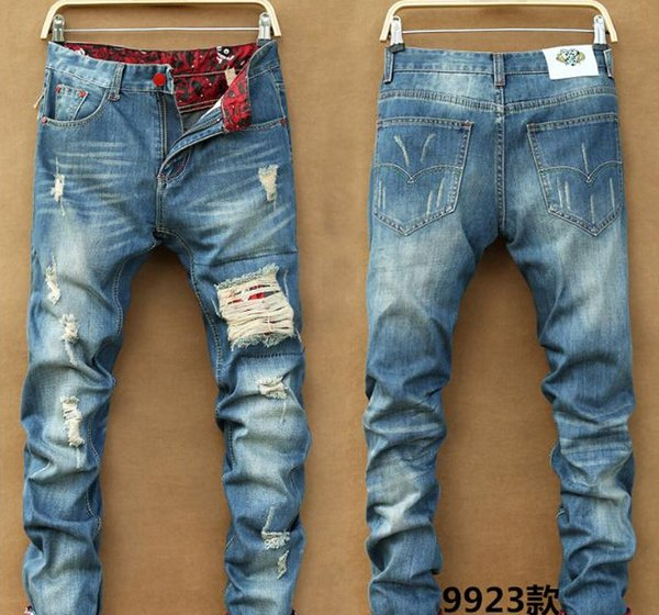 Men Slim Skinny Pants Runway Hetero Elastic Denim Pants destruído Ripped Jeans