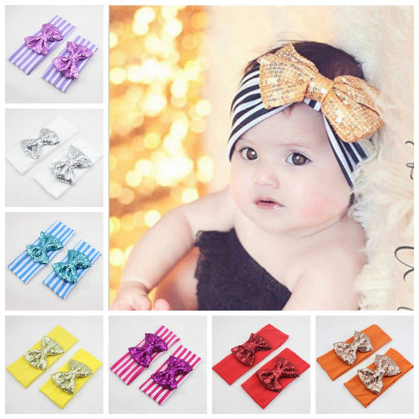 Women/baby hair accessory Head wrap Blended cotton fabric Headwrap Elastic stripe Sequins bowknot head band Turban Twist BOW Hairband FD6564