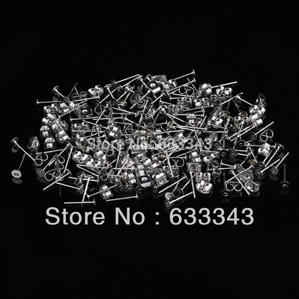 (Ordine minimo $ 9.99 Spedizione gratuita) Pacchetto 500pairs Orecchini in acciaio inossidabile Orecchini Ricerca + orecchini tappo posteriore, set di ricerca