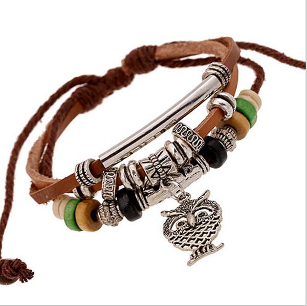 Fai da te nuovo di zecca moda di alta qualità fatti a mano stile cowboy punk perline in metallo ciondolo gufo braccialetti di cuoio per gioielli unisex