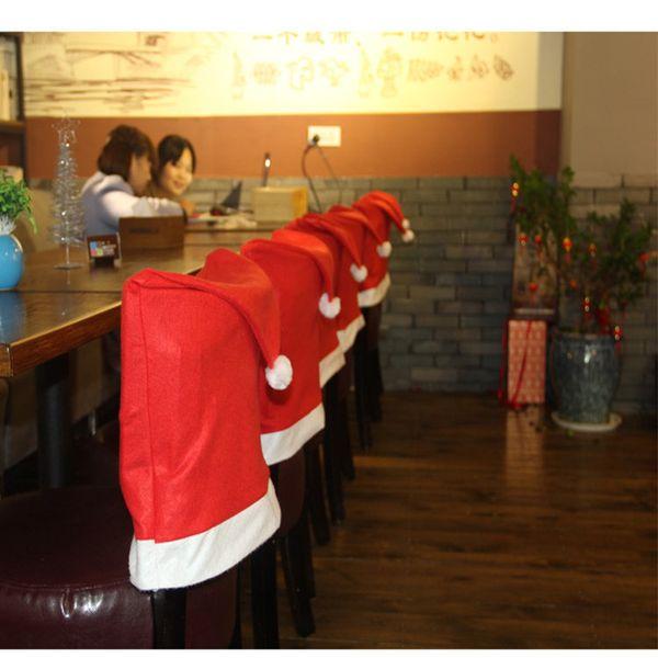 El mejor Papá Noel de la cláusula del sombrero cubre la silla de la cena conjuntos de la tapa para Navidad decoraciones de Navidad fiesta en casa festivo rojo