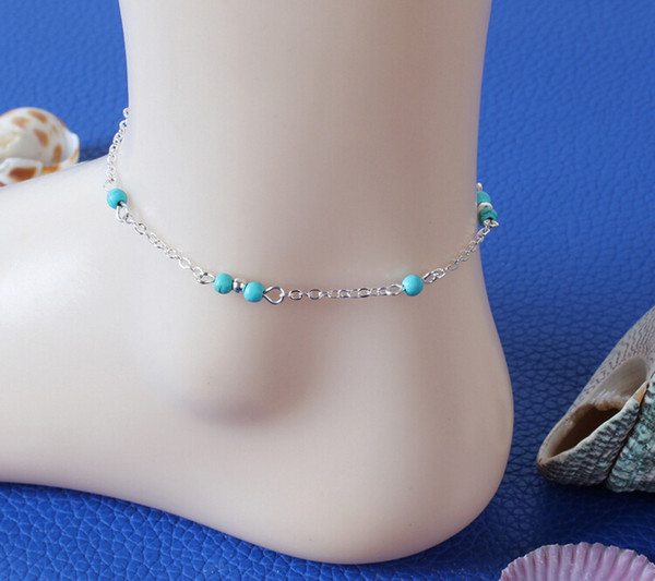 top popular Alloy Chain Anklets Fashion Gold Silver Plated Anklets Jewery Summer Hot Sell Vintage Blue Beads anklets accessories Drop Shipping BR234 2019