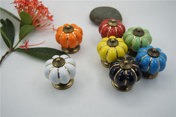 best selling 4*4*4 cm Kitchen Cabinets Knobs Bedroom Cupboard Drawers 7 Colors Ceramic Door Pull Handles With Screws