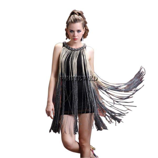 Compre Visual 20s Moda Charleston Rock Jazz Cantante Corto Dance Ds Disfraces Borla Fringe Scoop Cadena Deck Vestidos De Cuello A 2512 Del Whitewed