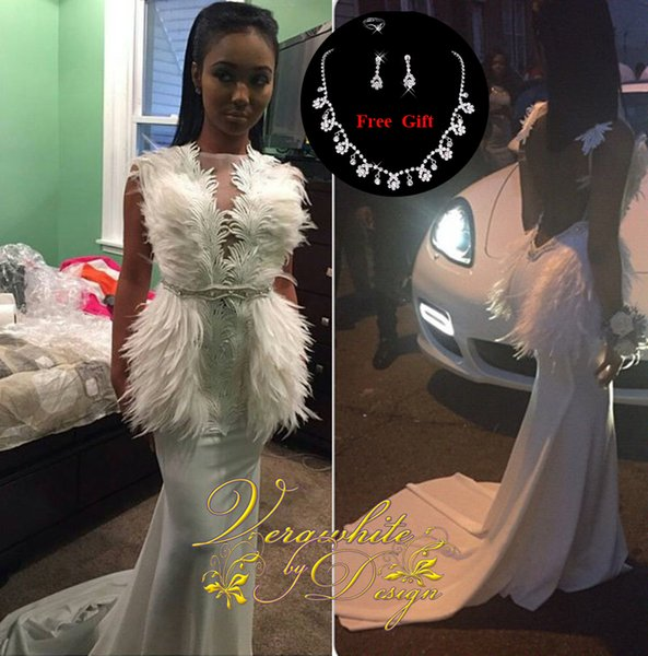 Saudi Arabia Mermaid Evening Dresses Bateau Neck Long Sleeves White Chiffon with Feather Beads Open Back Formal Party Gowns Custom 2016