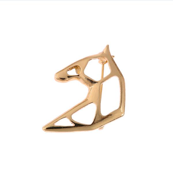 5pcs Lot Special Design Origami Horse Head Pins Brooches Akhal Teke Horses Brooch