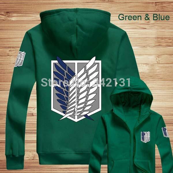 Wholesale-Free shipping Attack On Titan Thick Hooded Sweatshirts Shingeki no Kyojin Long Sleeve Zipper Coat Cosplay Hoodie Jacket
