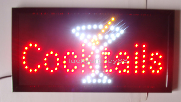 New arriving customized led cocktails signs neon cocktails signs neon cocktails sign lights semi-outdoor size 48cm*25cm
