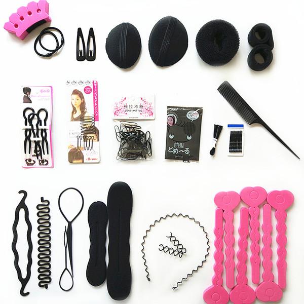 20 Tipo Diferente Acessórios Para o Cabelo Kit Braider Donut Grampo de Cabelo Kit Para Mulheres Meninas Elástico Banda Empate Magic Hair Bun Hairpins