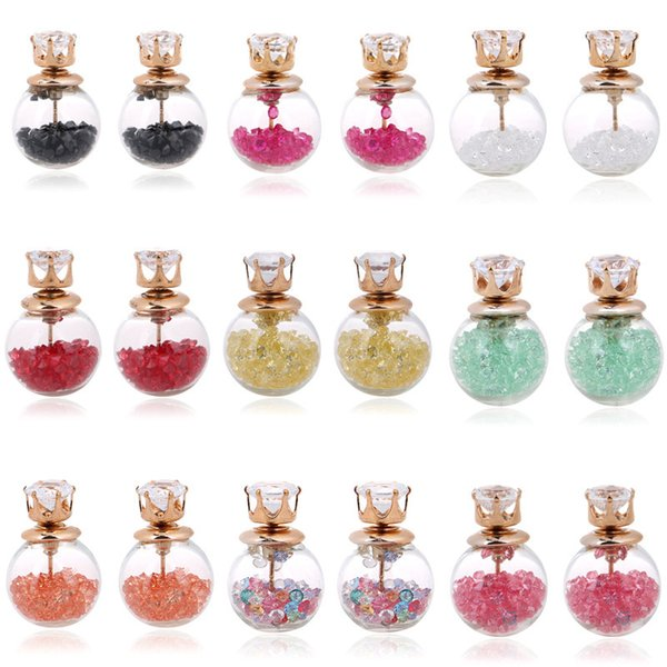best selling 9 colors Transparent Hollow Glass Ball Earrings Double Side crystal bulb Hourglass inside zircon Stud Earrings For Women girls