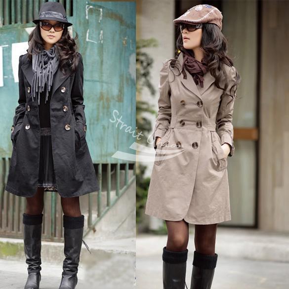 2013 das Mulheres Novas Slim Fit Moda Trespassado Trench Coat Casuais Preto, Marrom, Cáqui longo Outwear frete grátis 3375