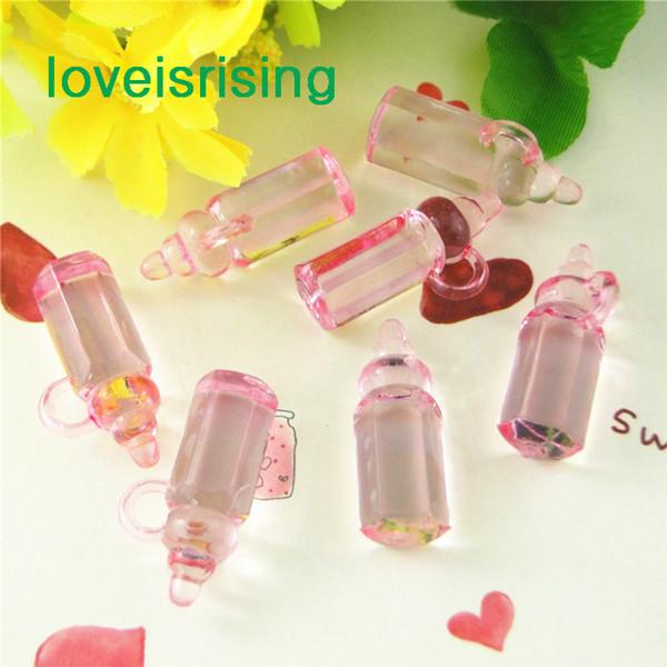 Número de seguimiento-500pcs / pack Mini Acrylic Clear Pink Baby Bottles Baby Showers Favors ~ Encantos lindos ~ cupcake decorar-Alta calidad